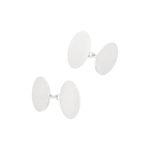Men's plain elongated oval sterling silver chain link cufflinks