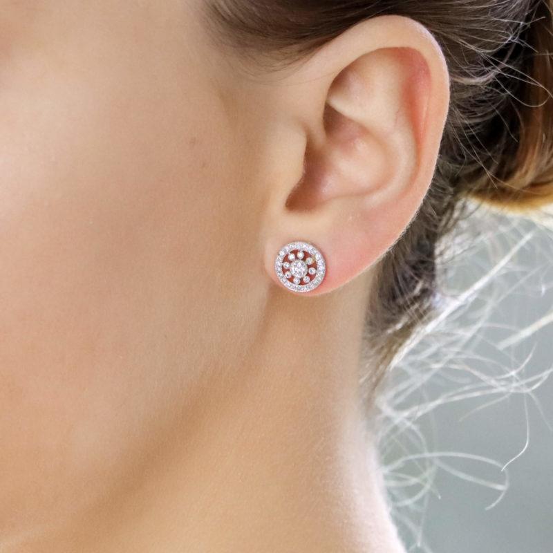18ct white gold diamond set cluster ear studs