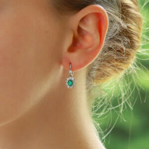 Vintage Emerald and Diamond Cluster Earrings