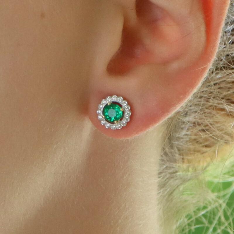 Emerald and Diamond Cluster Stud Earrings