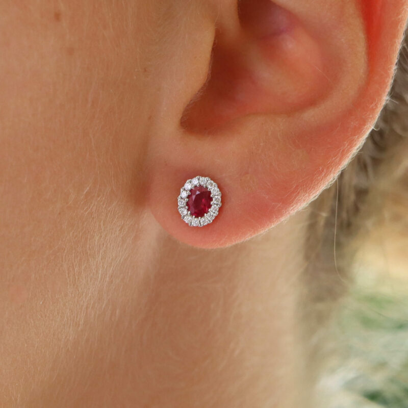 Ruby and Diamond Oval Cluster Stud Earrings