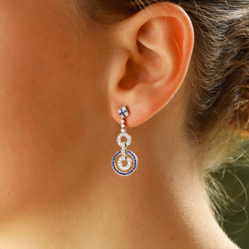 Sapphire and Diamond drop earrings, in an Art Deco Style