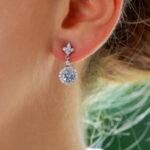 Aquamarine Diamond Cluster Drop Earrings