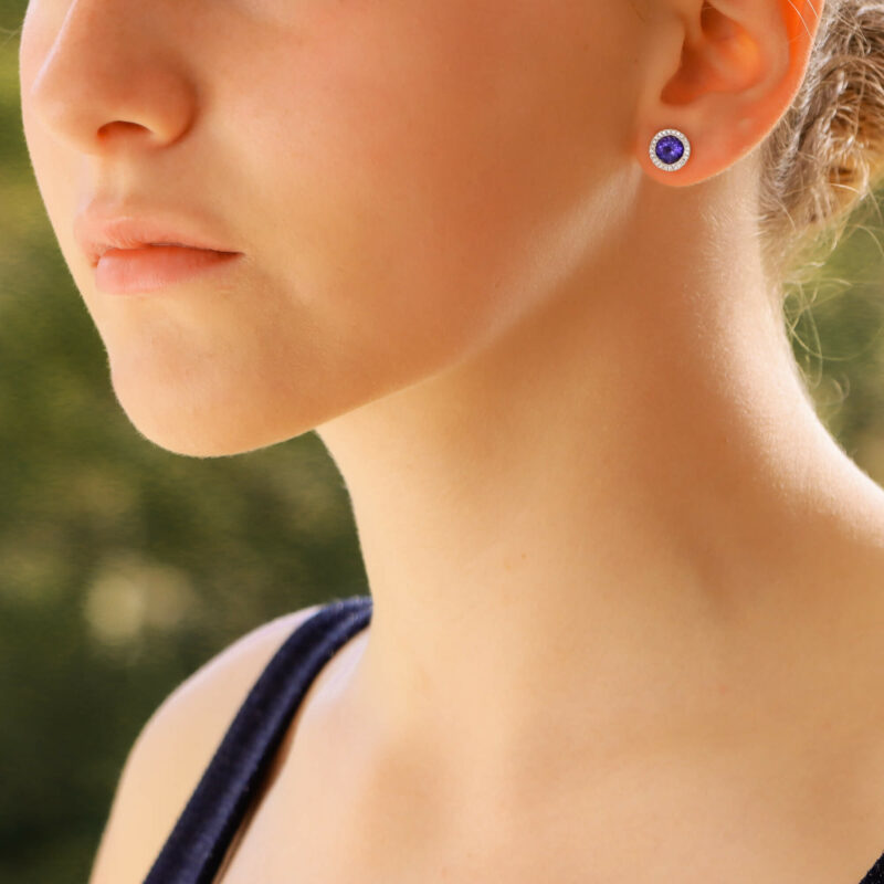 Tanzanite and Diamond Stud Earrings