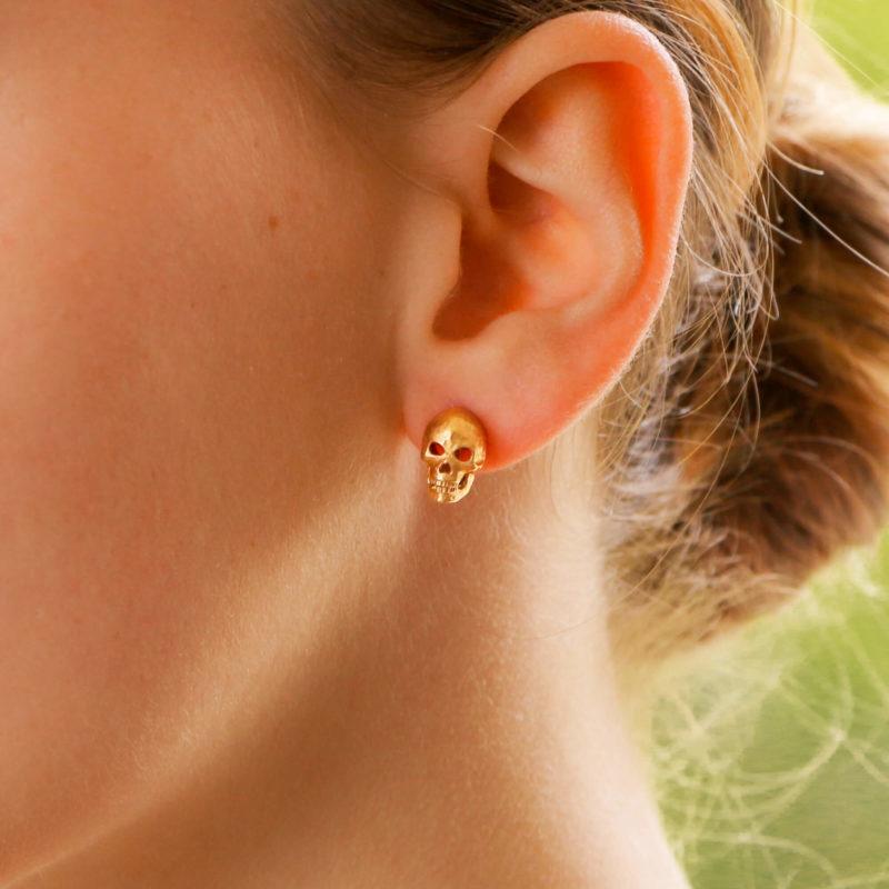 Skull Earrings with Diamond Eyes