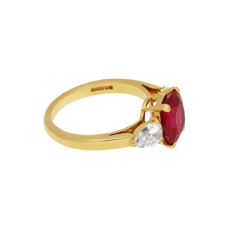 3.58ct Burmese ruby diamond engagement ring