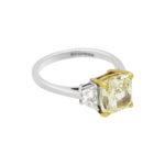 3.51ct radiant cut yellow diamond engagement ring