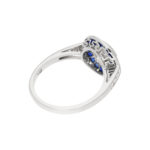 Round Brilliant-Cut Diamond and Sapphire Target Ring in Platinum