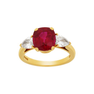 3.58ct Burmese ruby diamond engagement ring