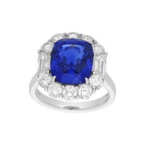 7.62ct carat sapphire and diamond platinum engagement ring