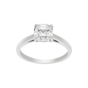 Asscher cut diamond engagement ring in platinum