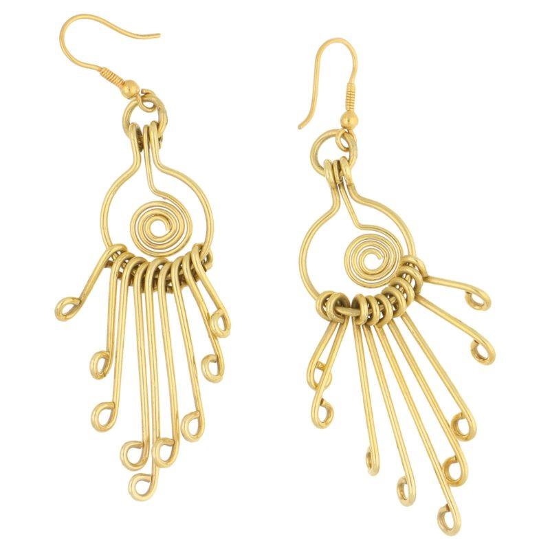Retro Wire-work Swirl Dangle Drop Earrings