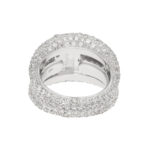 Pave-set Diamond Bombe Ring With Emerald-Cut Centre Stone