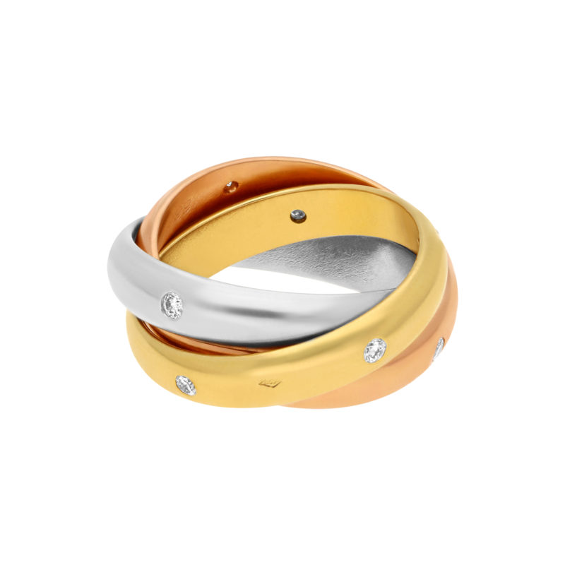 Cartier Trinity Ring with Diamonds 18K Yellow Gold