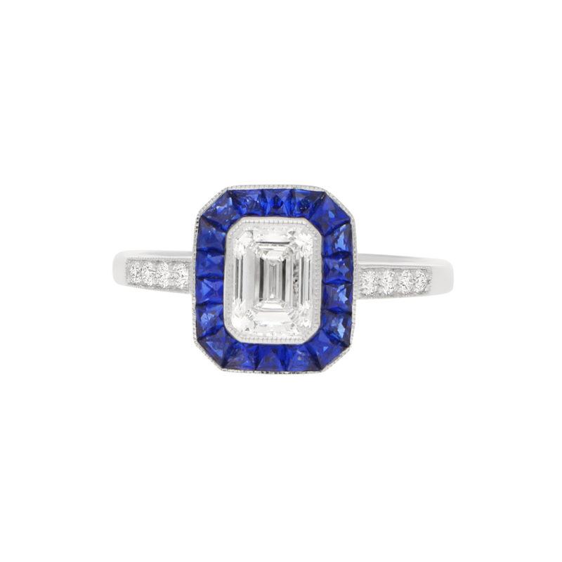 Art Deco-Style Emerald-Cut Diamond Sapphire Target Ring Platinum