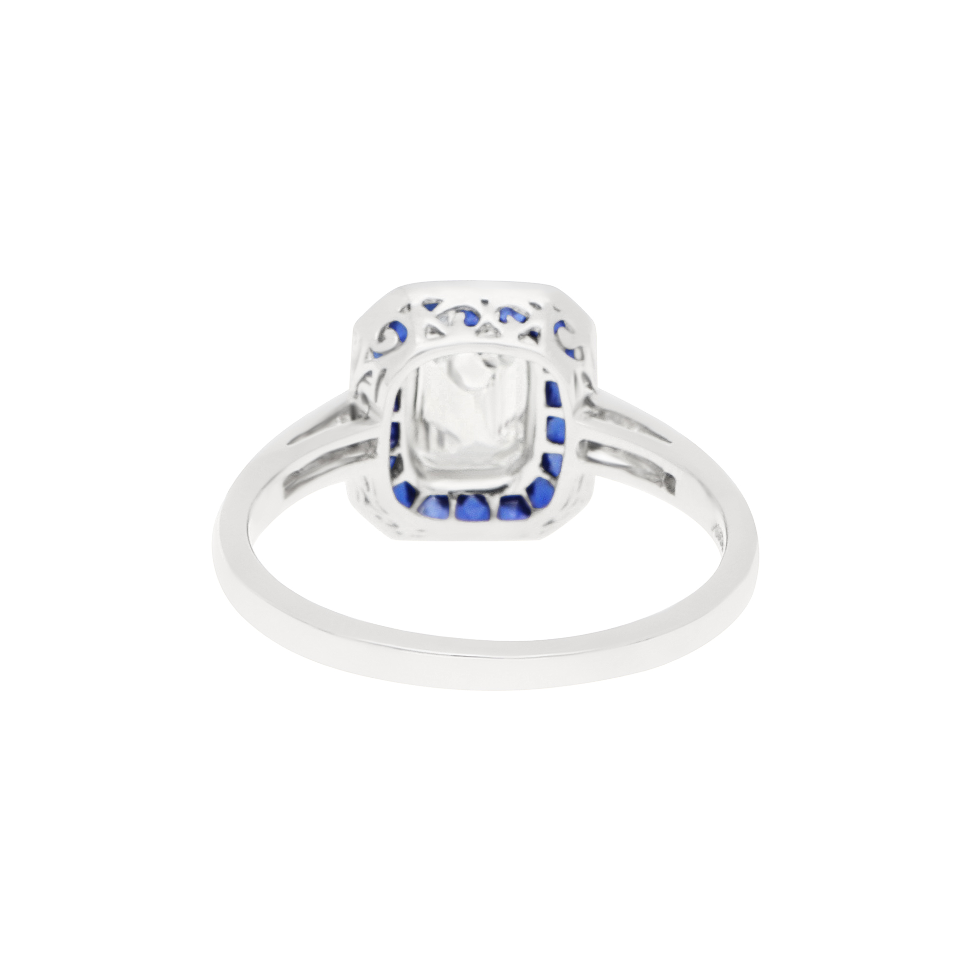 Art Deco Style Emerald Cut Diamond Sapphire Target Ring Platinum At Susannah Lovis Antique Jewellery