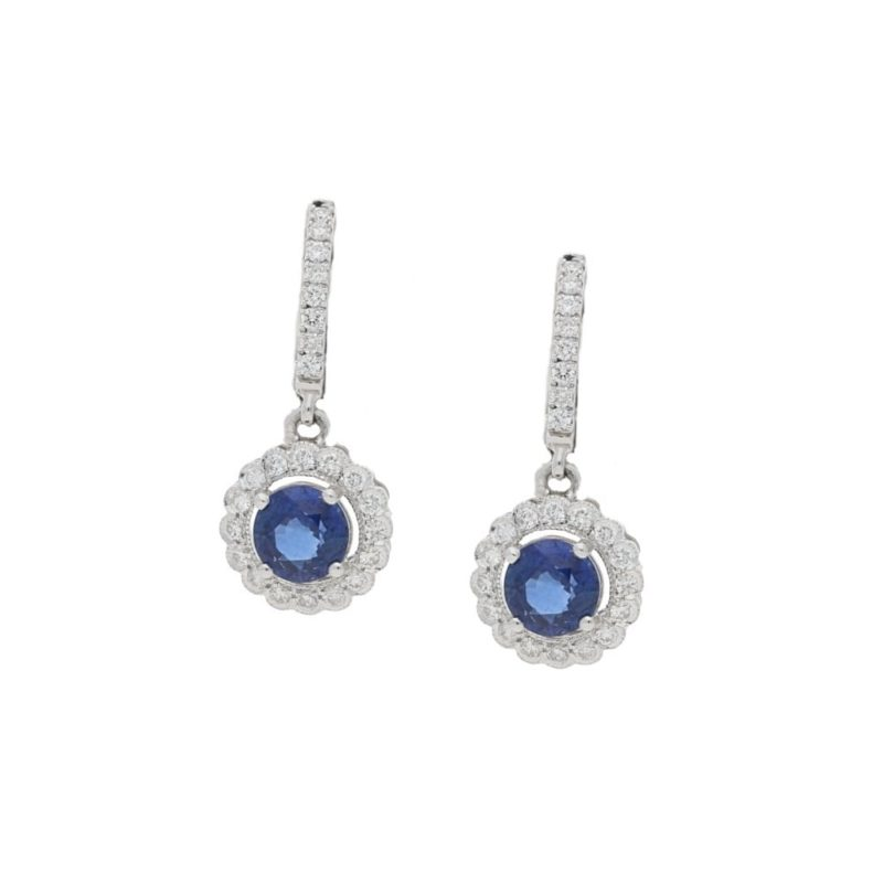 Sapphire and diamond cluster drop earrings in gold