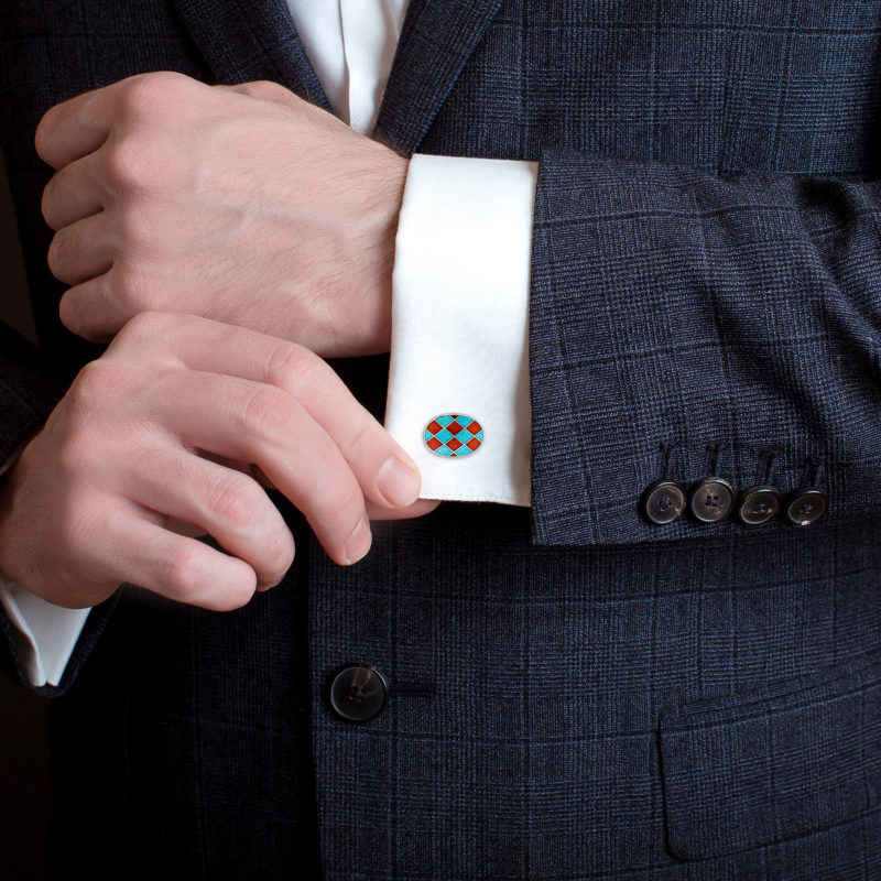 Enamel Harlequin Orange and Blue Cufflinks