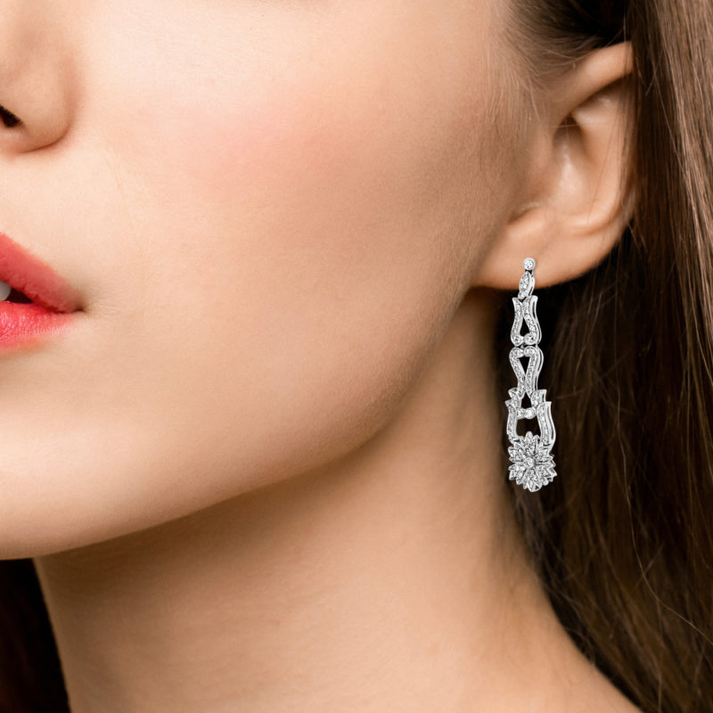 Pair of diamond pendent earrings