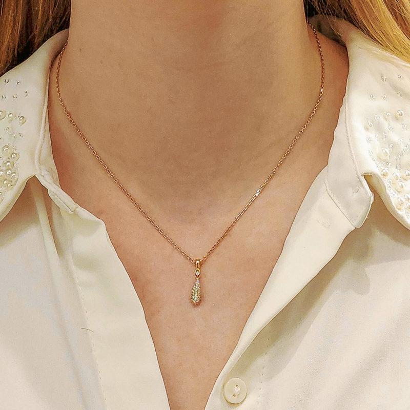 Pave Diamond Drop Shape Pendant Necklace in Rose Gold