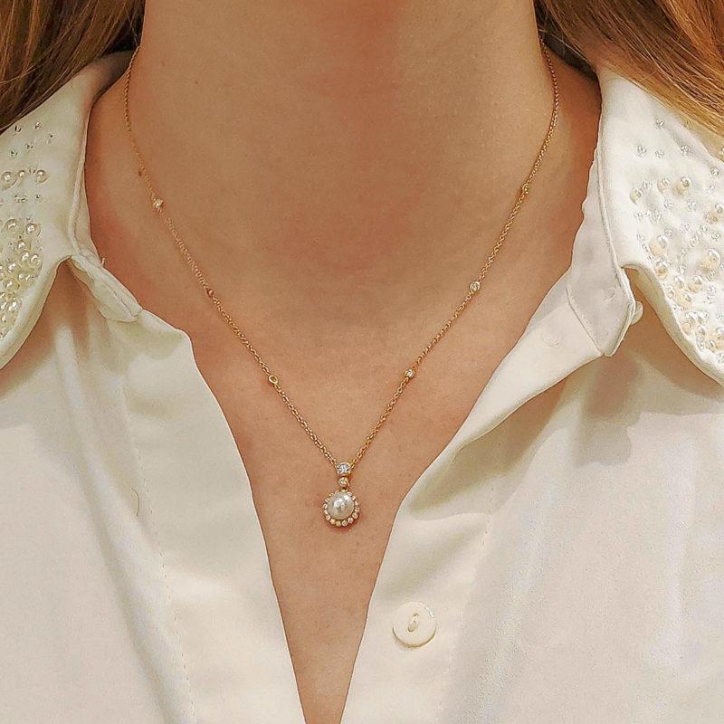 18ct gold pearl diamond cluster pendant