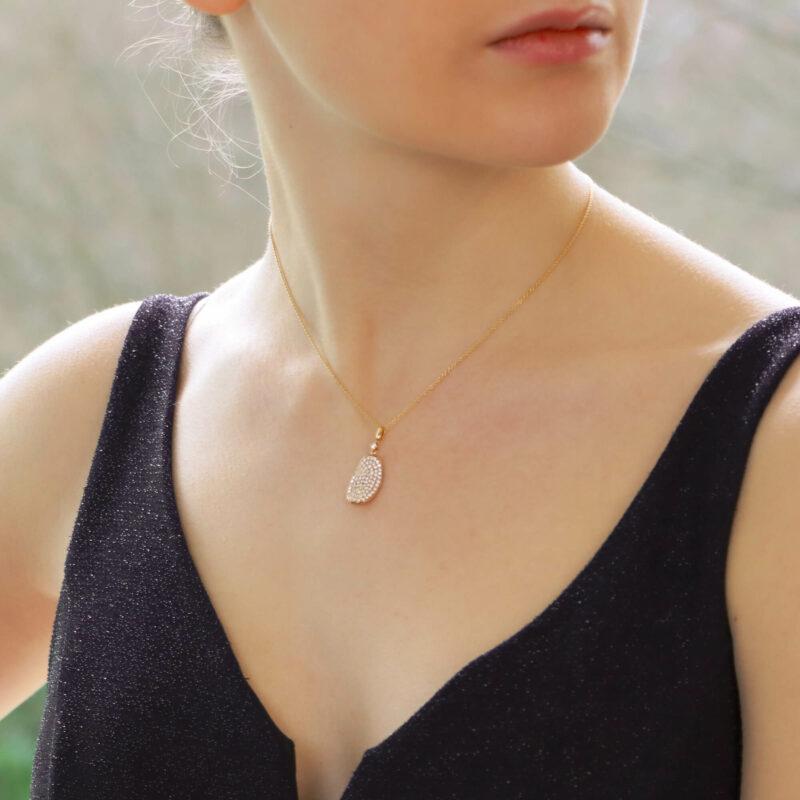 Diamond leaf pendant in rose gold