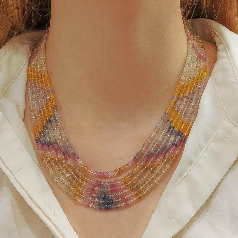 Beaded Pastel Rainbow Sapphire Strand Necklace