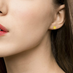 Etruscan-Style Ord Stud Earrings in Yellow Gold