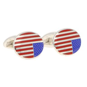 American Flag Enamel Swivel Back Cufflinks in Sterling Silver