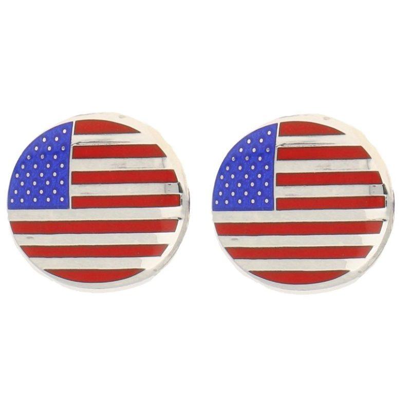 American Flag Enamel Swivel Back Cufflinks in Sterling Silver