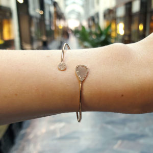 Rose-Cut Diamond Cuff Bracelet in 14kt Rose Gold