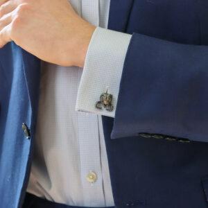 Grasshopper cufflinks in oxydised silver