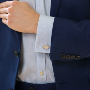 Sterling silver and mother of pearl chain link cufflinks