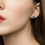 Sapphire and Diamond Square Button Stud Earrings