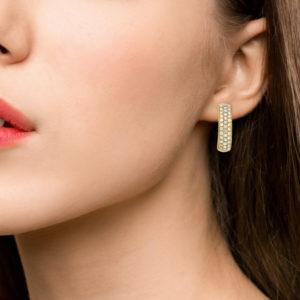 18ct yellow gold diamond set hoop earrings