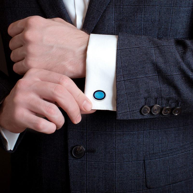 Men's navy blue border oval sterling silver chain cufflinks