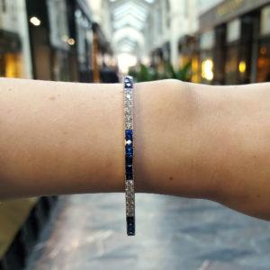 Sapphire and diamond line bracelet