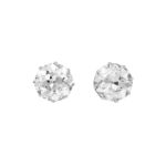 12.64ct Old European Brilliant Diamond Stud Earrings Platinum
