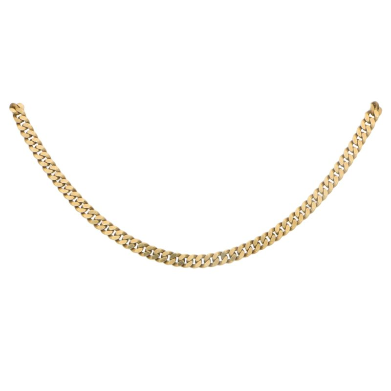 Yellow Gold Flat Curb Link Chain in 9ct