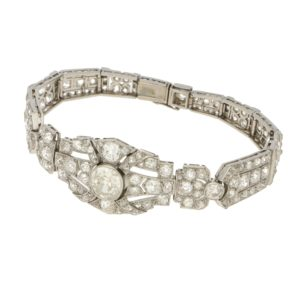 Art Deco Diamond Plaque Bracelet in Platinum