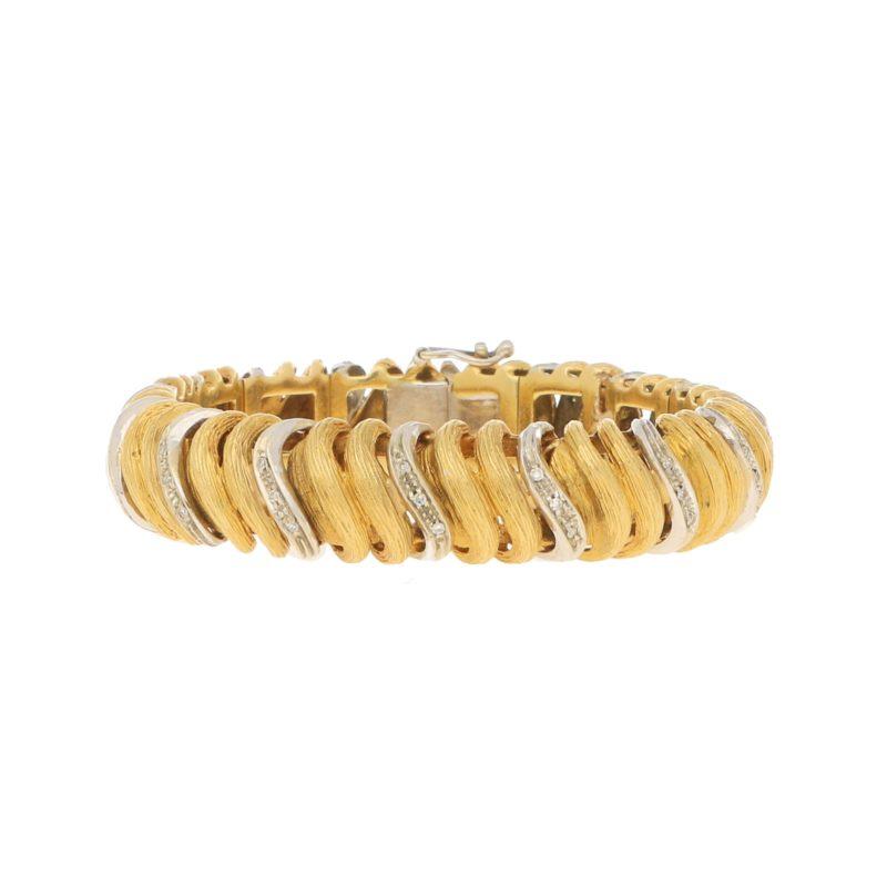 Vintage 1960s Italian Diamond Bracelet in Yellow and White Gold