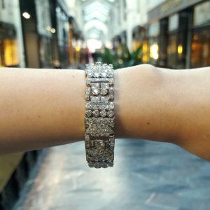 Art Deco Diamond Panel Bracelet in Platinum, 1930s