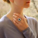 Art Deco Inspired Aquamarine and Diamond Cocktail Ring