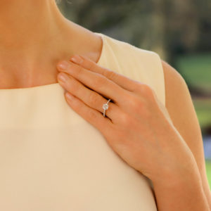 Diamond Solitaire Ring with Claw-Set Shoulders in White Gold