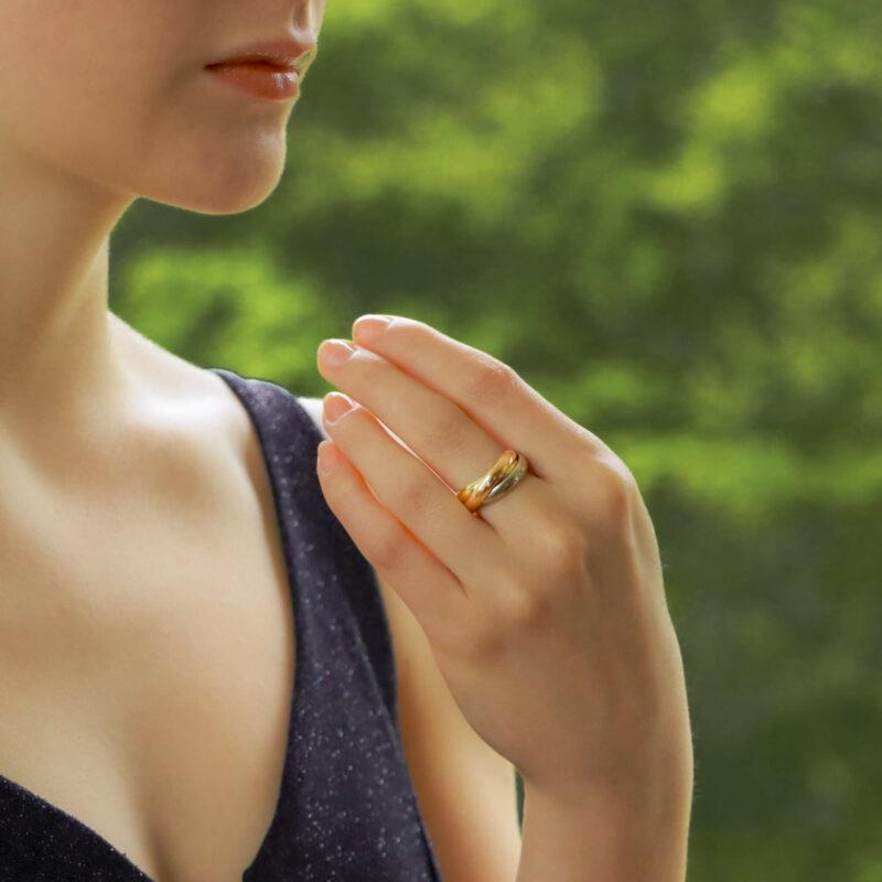 Vintage Cartier Diamond Trinity Ring Size 46