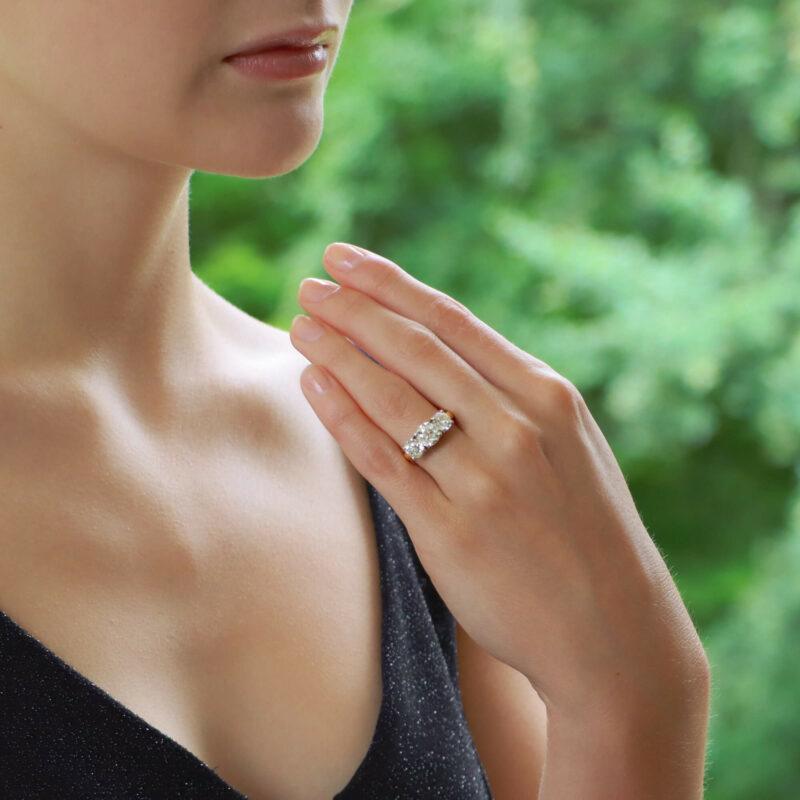3.06ct Three-Stone Diamond Ring in Yellow and White Gold