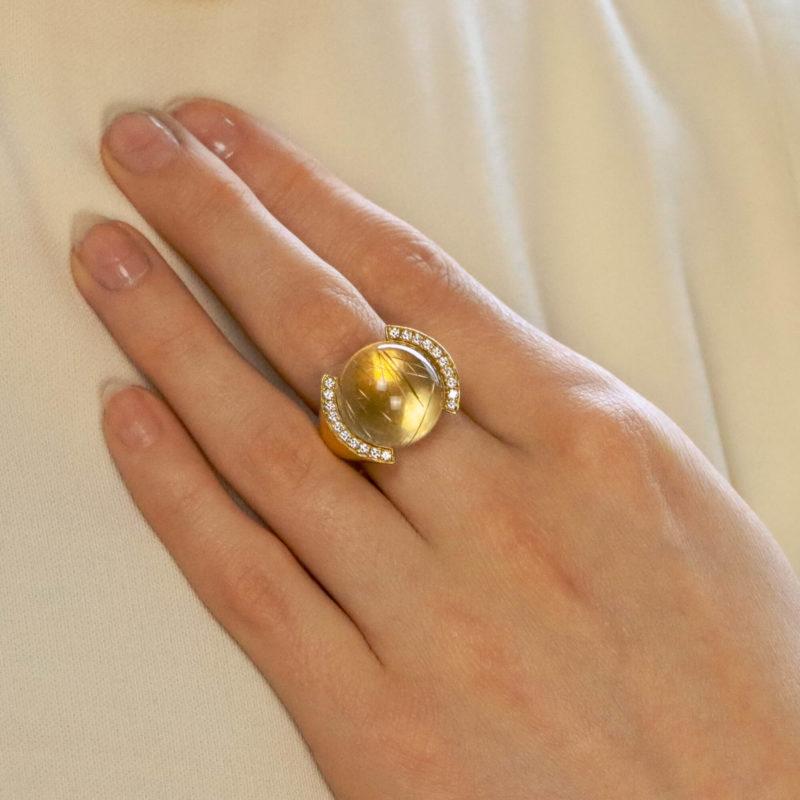 Vintage Cartier Rutilated Quartz and Diamond Ring
