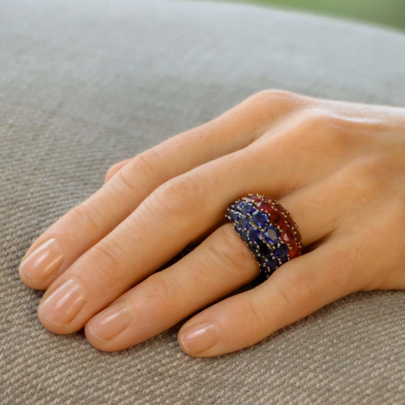 18ct yellow gold French ruby sapphire dress ring