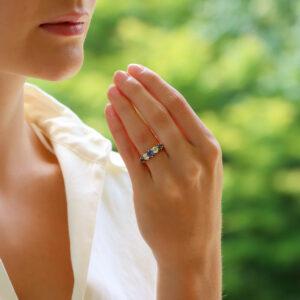 Victorian sapphire and diamond ring, circa 1890