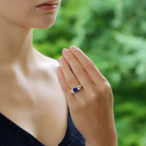 Victorian Cornflower Blue Sapphire and Diamond Three Stone Ring